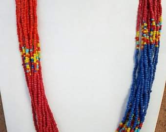 Multi Colored Long Statement Necklace / Multi Strand Necklace.