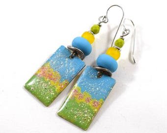 Handmade Earrings, Paint and Resin Earrings, Boho Earrings, Artisan Earrings, Boho Chic Earrings, Silver Earrings, Blue Yellow,  AE227