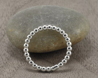 Sterling Silver Stack Rings - Sterling Silver Beaded Bands - Stacking Ring - Handmade Jewelry - Simply Bold