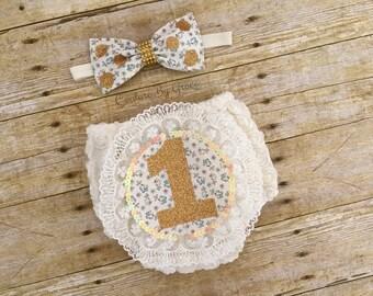 Baby Bloomer, Baby Lace Bloomer Set, Cake Smash Bloomer, 1st Birthday Bloomer, Baby Girl Bloomer, Baby Bloomer, Ivory Bloomer,Flower Bloomer