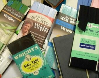 Vintage Bias Tape, Seam Binding, Vintage Trim Wrights Mixed Lot, vintage sewing