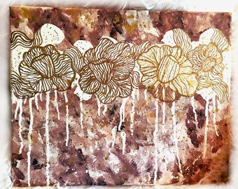 The Golden Ones - Abstract Acrylic Floral Painting - Pinks and Golds - Canvas Painting - Original One of a Kind Painting - Chic and Modern
