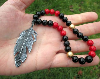 Carrion Crow Prayer Beads / Mini Mala / Mini Rosary - crow prayer beads, raven prayer beads, Odin, the Morrigan, magic, mystery