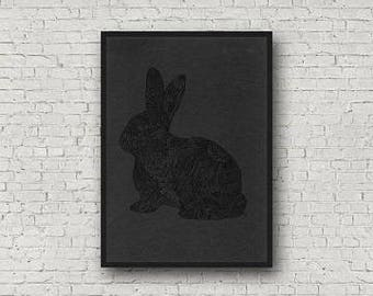 Black on Black Barely There Zentangle Bunny Rabbit A4 Art Print