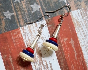 Red, White and Blue Patriotic Earrings (2714)