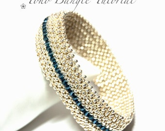 Beading tutorial pattern - PDF email download - Seed Bead Bangle - right angle weave - RAW - 'Toho' bangle