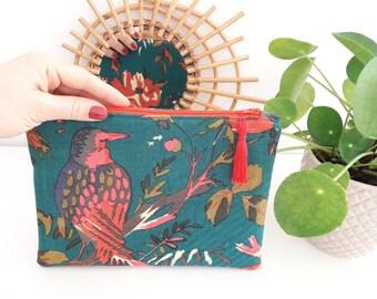 Pouch, organizer bag in cotton, tropical design fabric