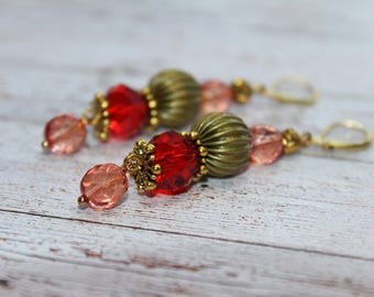 Shades of autmn Glass beads Earrings  Beaded Earrings Czech Glass beads Womens Jewelry Gift for Her Shades red fall colors red yellow