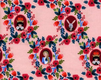 Wonderland Cameos Rose by Rifle Paper co Quilting Cotton for Cotton & Steel Fabric