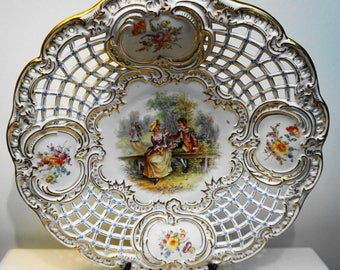 RARE ANTIQUE DRESDEN Victorian Reticulated Serving Platter by Ambrosius Lamm