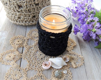 Black / Candle holder / glass / Nantuket / Spring / Collection / votive Cup / handmade / eco friendly / cotton / Gift idea / the dusty hovel