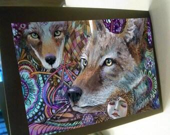 greeting card zentangle coyote pack spirit animal blank card