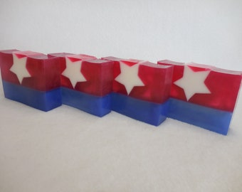 Flag Soap - The Red White & Blue - Patriotic Soap - 4th of July Soap Favor - USA - Handmade Decorative Moisturizing Gift - SOAP LOAF 1.5 lb