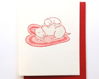 Love Cat and Dog Letterpress Card