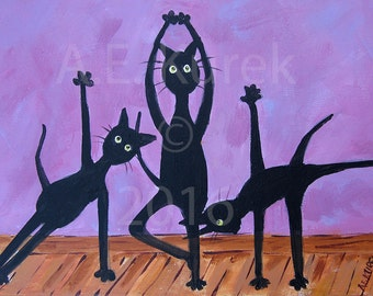 Black Cat Art Print - Yoga Cats in Lavender - Black Cat Print - Yoga Decor - Yoga Art - Yoga Cat - Gift for Cat Mom - Funny Cat Art - 5 x 7