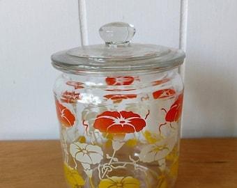 MEMORIAL DAY SALE vintage morning glory glass jar