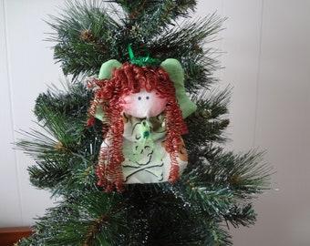 Skull and crossbone themed fabric angel ornament-green