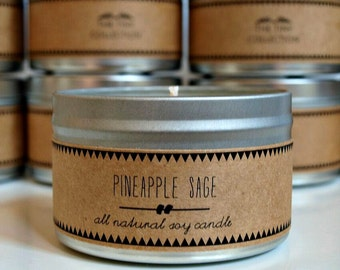 PINEAPPLE SAGE // Soy Candle. Natural Candle. Scented Candle. Eco Friendly. Vegan Friendly. Custom Gift. Gift for Her.