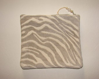 Velvet chenille grey and white zebra print zippered pouch handmade by me, Miss Patch