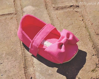 Hot pink baby shoes etsy baby girl shoes toddler girl shoes soft soled shoes wedding shoes flower girl shoes faux dupioni mightylinksfo Choice Image