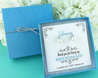 Bridesmaid Earrings Pearl, Bridesmaid Stud Earrings, Bridesmaid Jewelry Gift, flower girl earrings, Madelyn Pearl Stud Bridesmaids Earrings