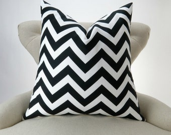 Black White Zigzag Pillow Cover -MANY SIZES- chevron decorative throw euro sham custom cushion modern contemporary geometric