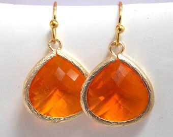 Orange Earrings, Gold Earrings, Gold Orange Earrings, Tangerine Earrings, Bridesmaid Earrings, Bridal Earrings Jewelry, Bridesmaid Gift