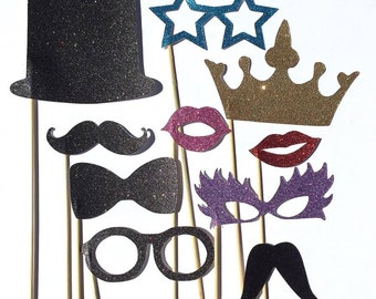Photo Booth Props CUTOUTS - Glitter Moustaches, glasses, lips, top hat, bow tie, crown. Perfect for weddings & parties