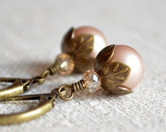 Bronze Woodland Earrings, Pearl Jewelry, Genuine Swarovski Powder Almond, Antiqued Brass, Lever Back Leverback Earwires, Wire Wrapped