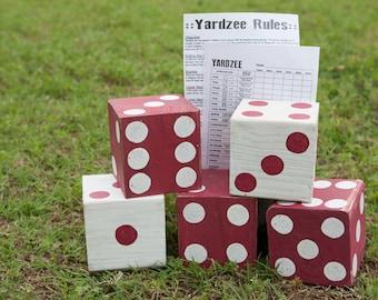 Giant Dice, Giant Yahtzee, Yardzee, Yard Dice, Lawn Dice, Yahtzee, Outdoor Game, Tailgating, OU, Alabama, Georgia, Dice, Farkle, Yard Game