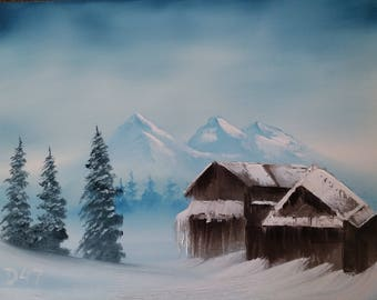 Original oil painting, landscape oil painting, oil painting ski lodge, oil painting mountains, oil painting snow capped mountains, Montana