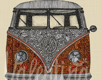 The VW Camper Van - Orange