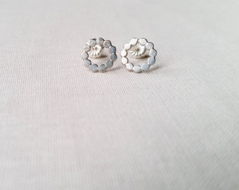 Tiny Sterling Silver Bubble Earrings: Handmade Hammered Studs Minimalist Dot Circles Hand Forged Simple Valentine Gift for Her