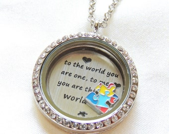 READY TO SHIP, Autism Awareness Jewelry, To the world you are one, to me you are the world, Floating Locket Necklace, Autism Puzzle Piece