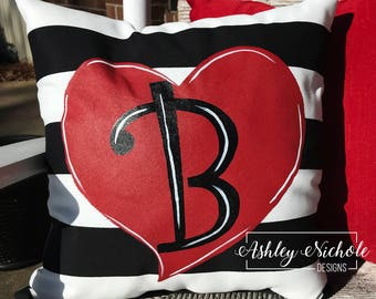 """18"""" Custom-Heart with black and white stripes Pillow"""