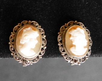 Silver Cameo Earrings, 800 Silver Marked VI54, Clip On, Carved Shell, Vintage Victorian, Steampunk Jewelry