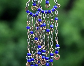 Antique Copper, Seed Bead Chandelier Earrings, Dangle Earrings, Chain Earrings, Blue Seed Beads, Handmade,