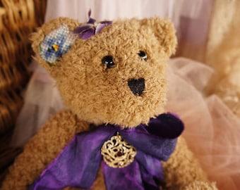 Violet, Artist teddy bear Animal-stuffed-bear-interior toy - personalized teddy bear Mohair teddy bear Vintage collectible toy