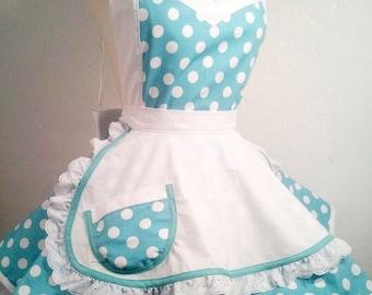 Retro Apron - I Luv My Lucy Polka Dot Pin Up Costume Apron, Woman's Apron, Hostess and Kitchen Apron