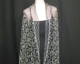 Black and silver beaded scarf #599
