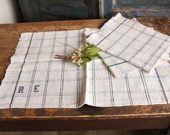D 135: handloomed lin antique charmant serviette serviette blanchis Pâques printemps décoration 리넨