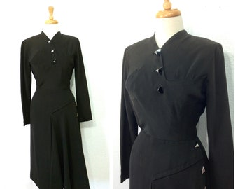 Vintage 1940s Dress Black Rayon Crepe Buttons front and side Wrap skirt dress