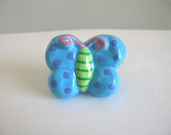 Butterfly Knob - Turquoise Blue - ceramic dresser drawer knob pull