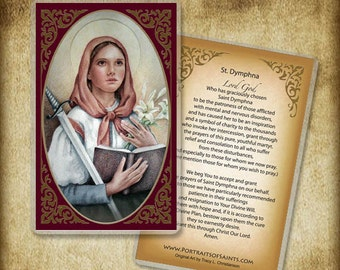 Saint Dymphna Holy Card or Wood Magnet, Catholic Art #0077