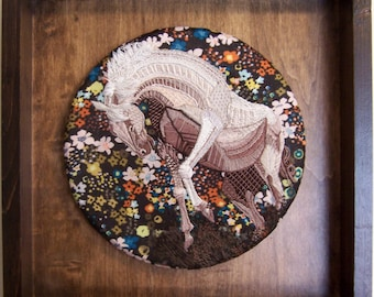 "Gray on Floral: ""Frigga""- an original Hand Embroidered Equine Artwork"