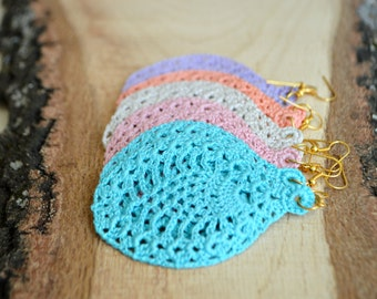 Crocheted earrings Boho earrings Crochet earrings Dangle earrings Gift for her Gypsy earrings Hippie earrings Ethnic earrings Boho jewelry