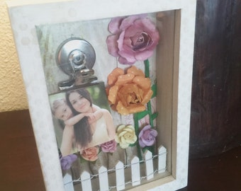 EASTER SALE Floral Photo Dispaly Box • Rose Garden Glass Photo Shadow Display Frame Altered Art Mixed Media Valentines Wedding