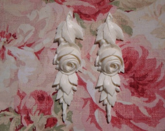Shabby & Chic Rose and Leaf Drops Pair Furniture Applique Architectural Onlay