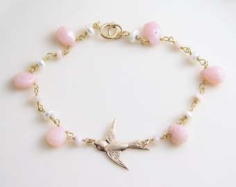 Pink Opal Necklace ~ Brush Pink Opal with 14K Gold Filled Swallow ~ Wire Wrapped Pink Opal and Pearl ~ Dainty Bracelet ~ Gift for Her