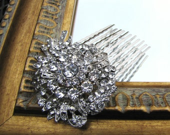 Vintage inspired bridal hair comb, large Rhinestones brooch wedding hair piece - Olivia